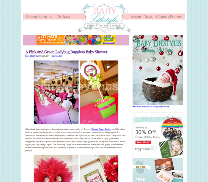"FEATURED! Baby Lifestyles featured our ""Bugaboo Baby"" Shower!"