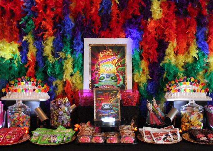 80 39 s themed candy bar real party soiree event design for 80 s table decoration ideas