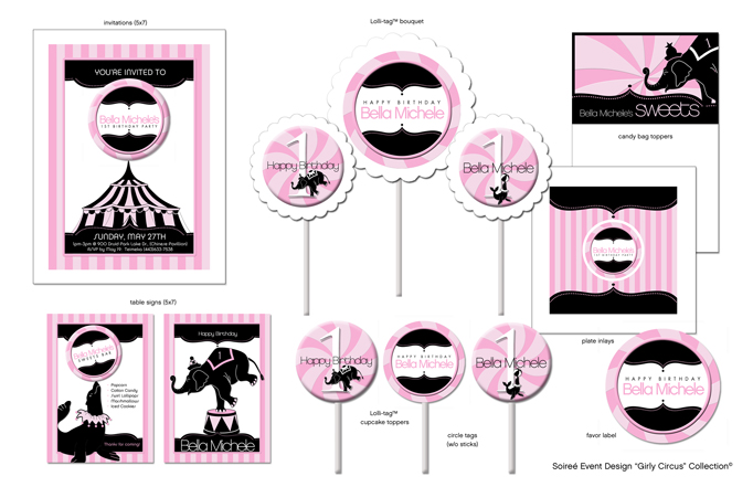 girly circus party printables