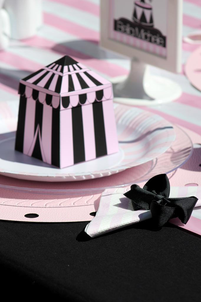 girly circus favor box with ribbon napkins
