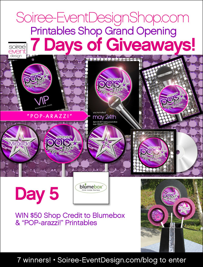 "{Giveaway} Day 5: ""POP-arazzi!"" Printables & Blumebox"