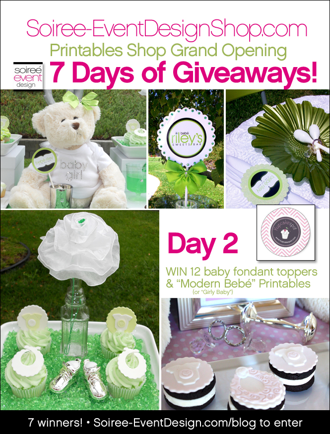 "{Giveaway} Day 2: ""Modern Bebé!"" or ""Girly Baby!"" Printables"