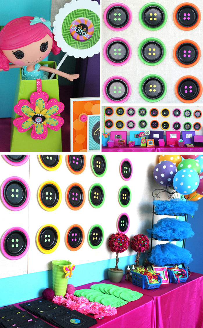 lalaloopsy button backdrop made out of paper plates