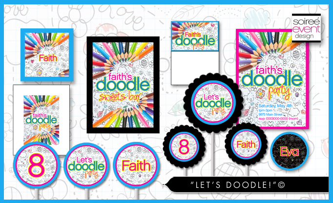Create Custom Doodle Party Favors using Printables + Favor Bar!