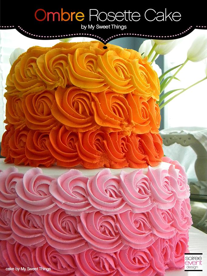 Cake Trend:  Designer Ombre Rosette Buttercream Frosted Cake