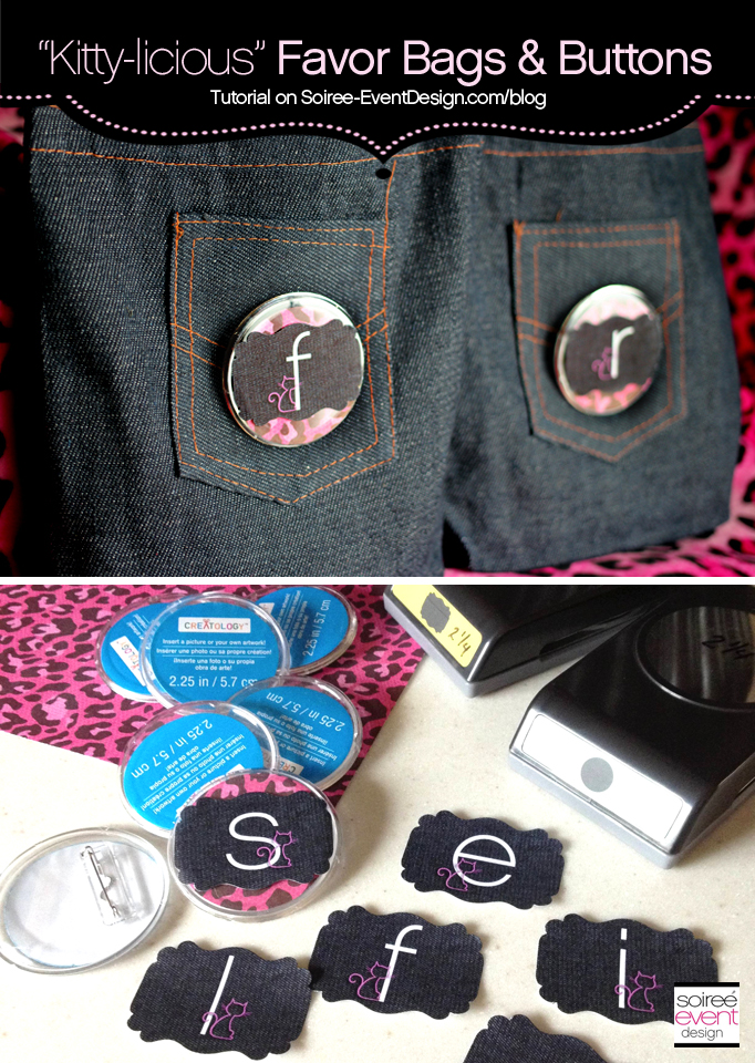 Tutorial:  How to Make Custom Buttons & Monogrammed Denim Favor Bags!