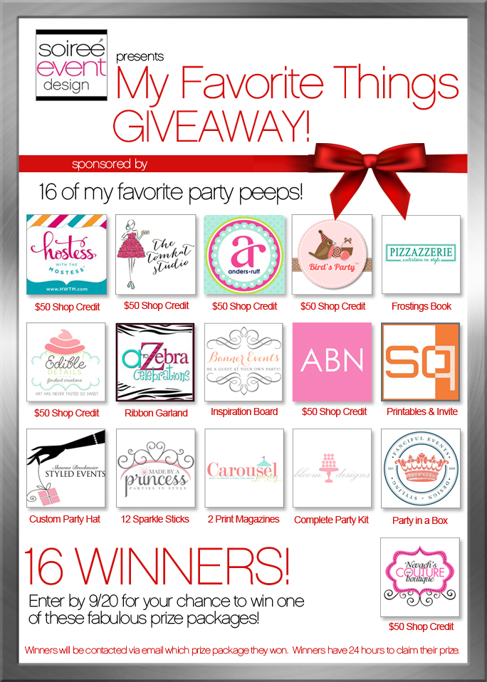 My Favorite Things Giveaway featuring my Favorite 16 Party Vendors!