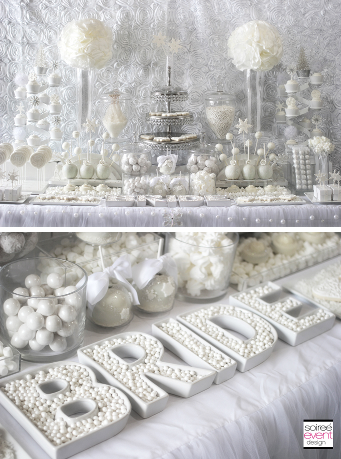 winter white bridal shower decorations