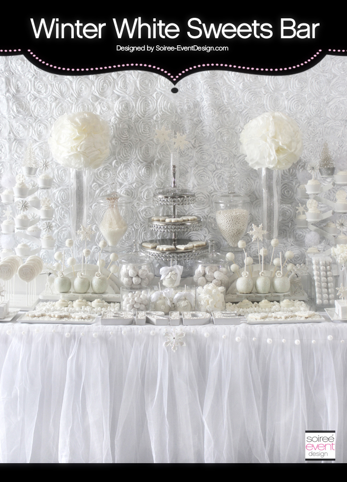 Winter White Bridal Shower Sweets Table – The All White Color Trend