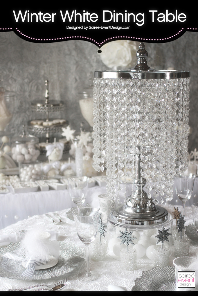 Winter White Bridal Shower Dining Table – All White Trend