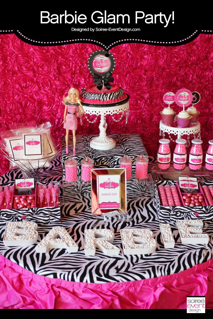 Barbie Party Zebra Glam Theme