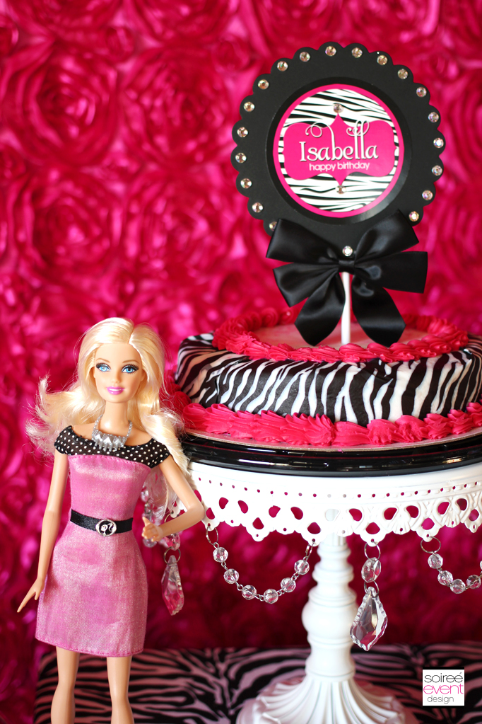 barbie wedding cake topper zebra glam theme soiree event design 11071