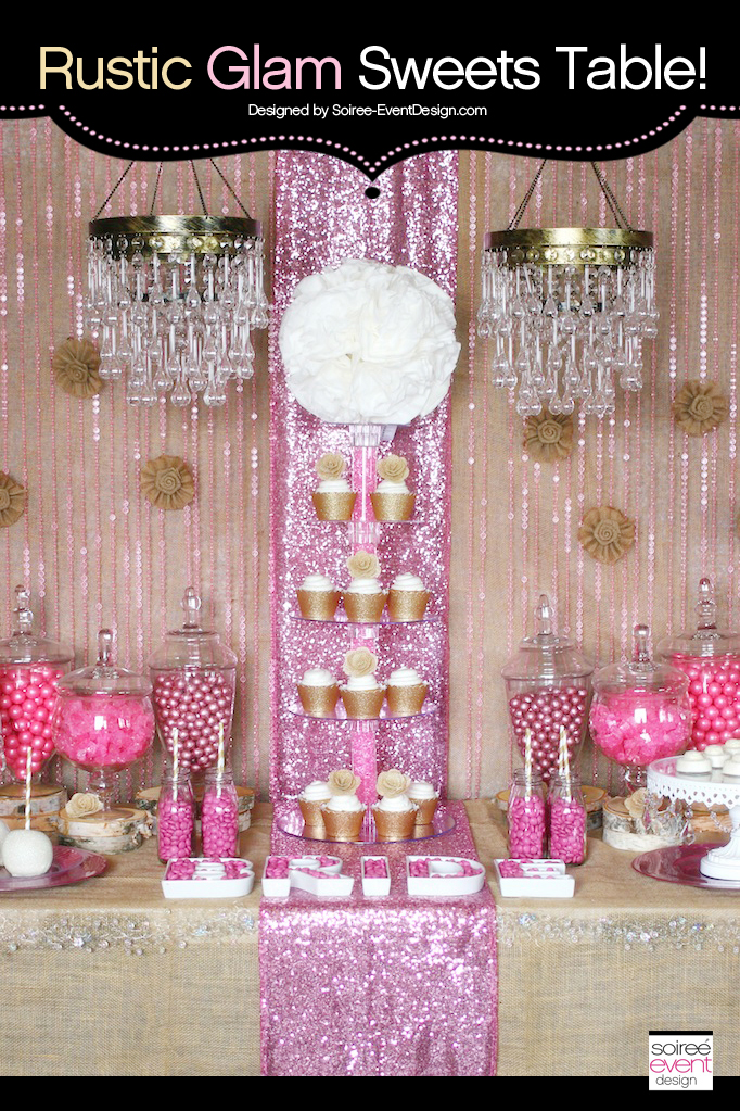 Trend Alert:  Rustic Glam Pink and Gold Sweets Table
