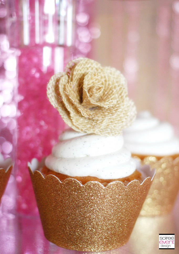 burlap-flower-gold-cupcake-topper