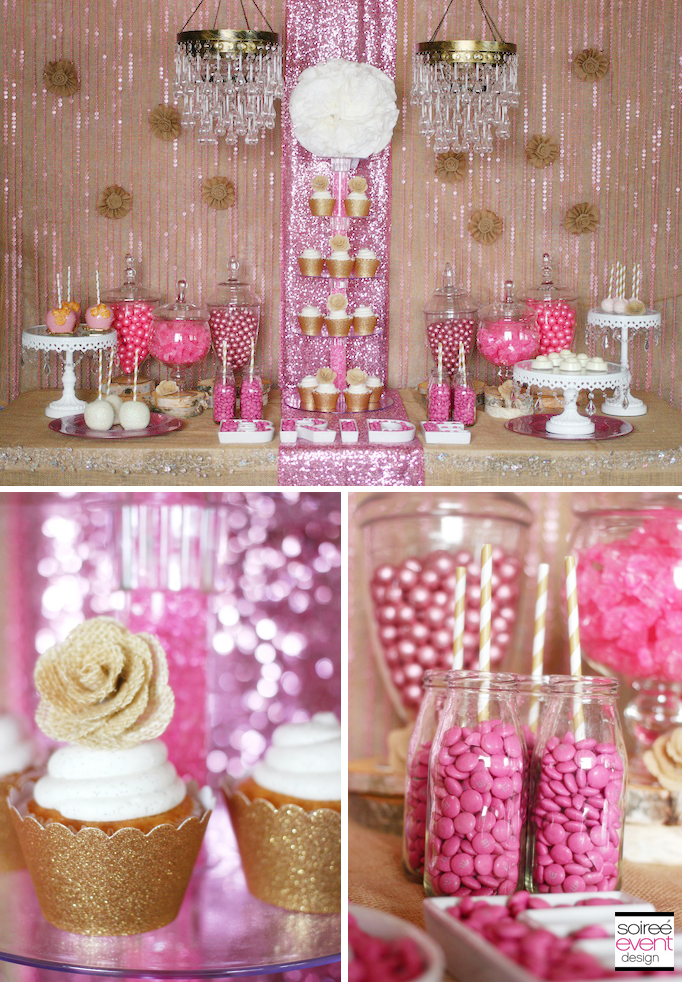 Trend Alert Rustic Glam Pink And Gold Sweets Table