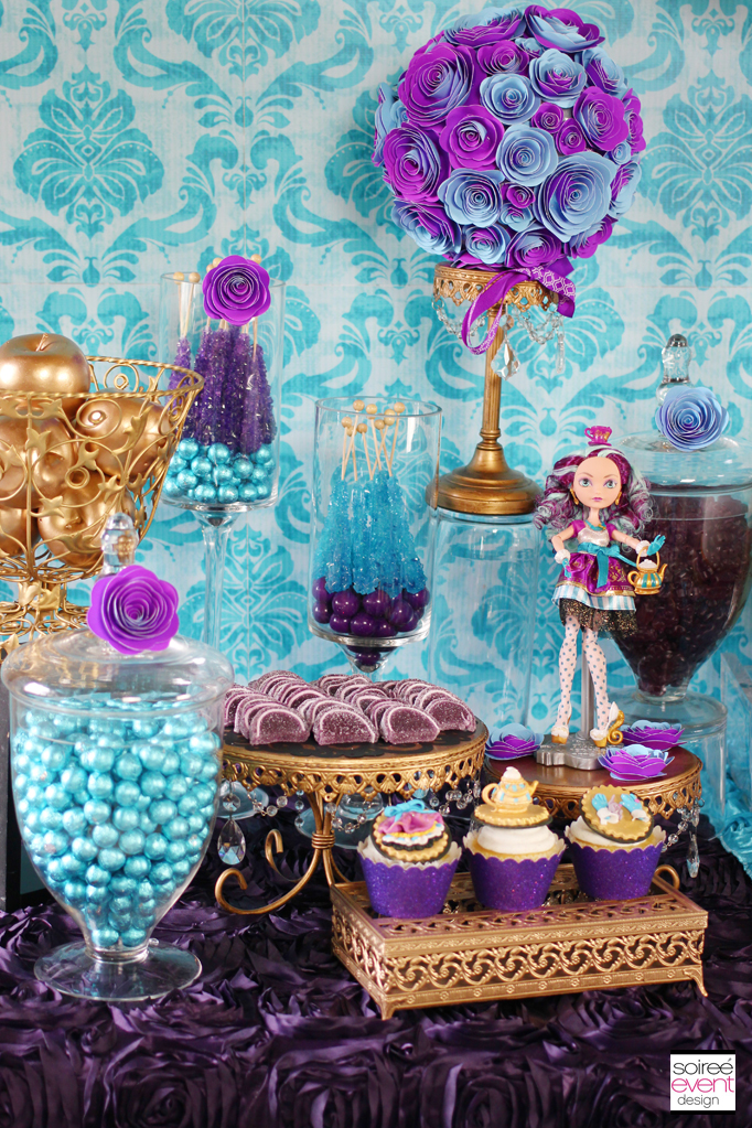 purple-gold-candy-table