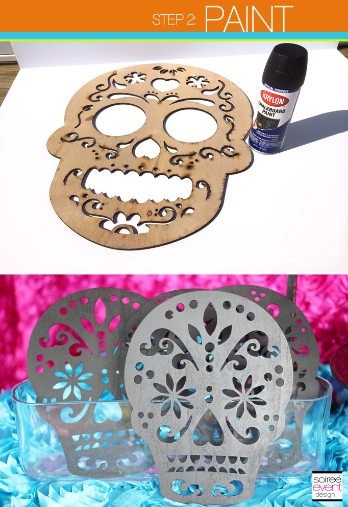 Step 2 paint the wood cuts spray paint your wood cut sugar skulls