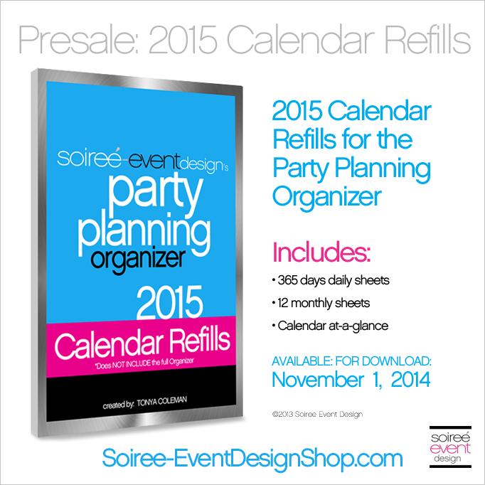 Party Planning Organizer 2015 Calendar Refills Available for PreOrder