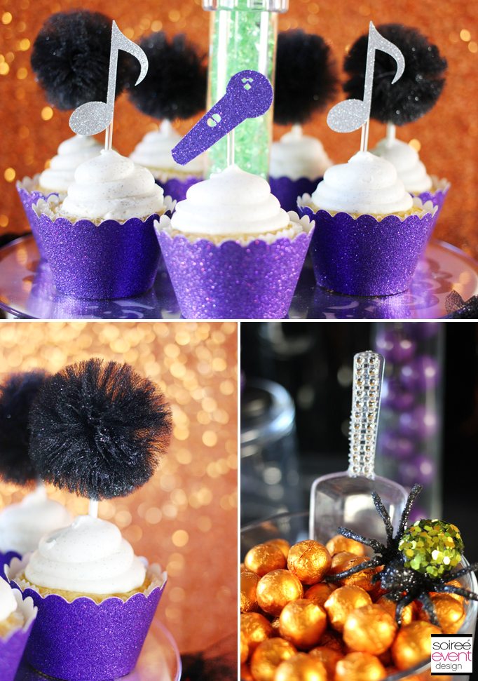 Tulle pom cupcake toppers
