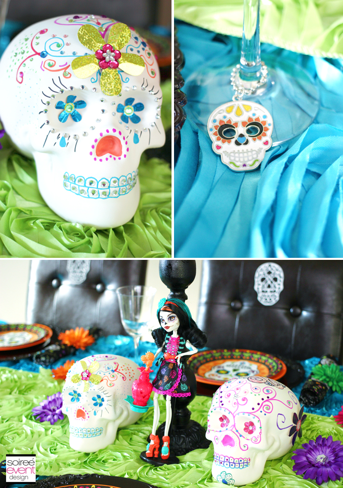 day of the dead wine glass charms