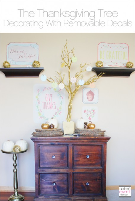 Create a Thanksgiving Tree Display with Removable Wall Decals!