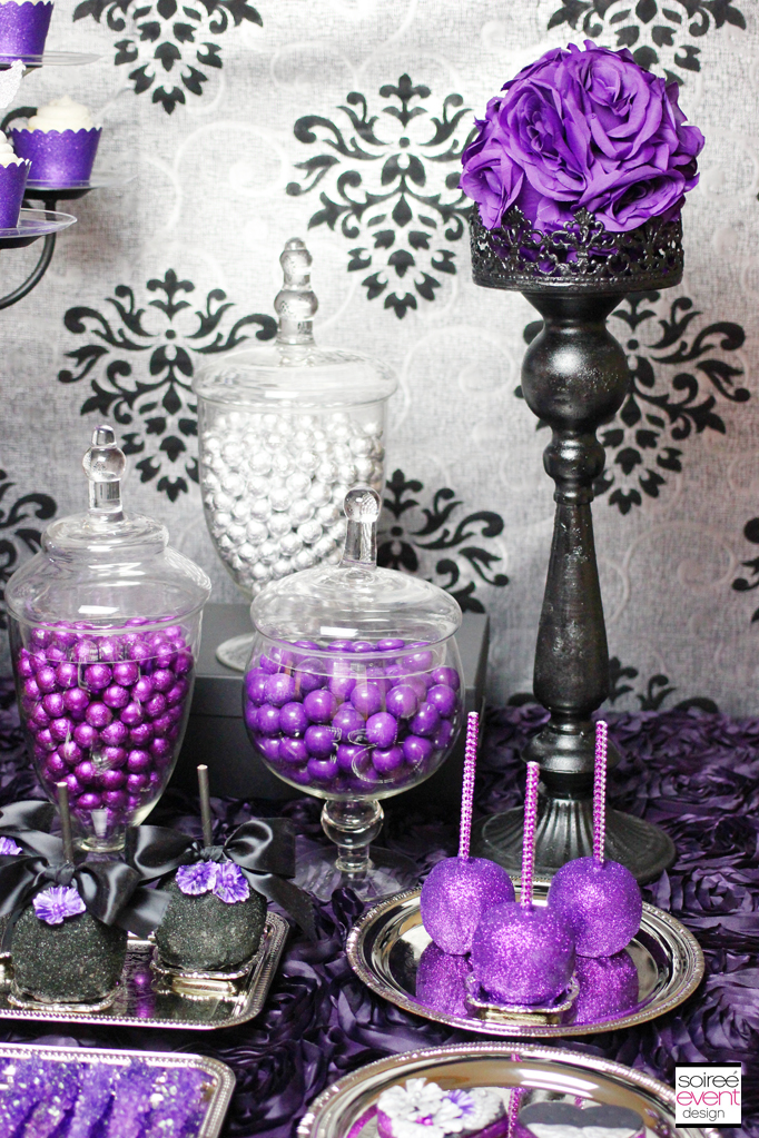 Purple and silver candy table