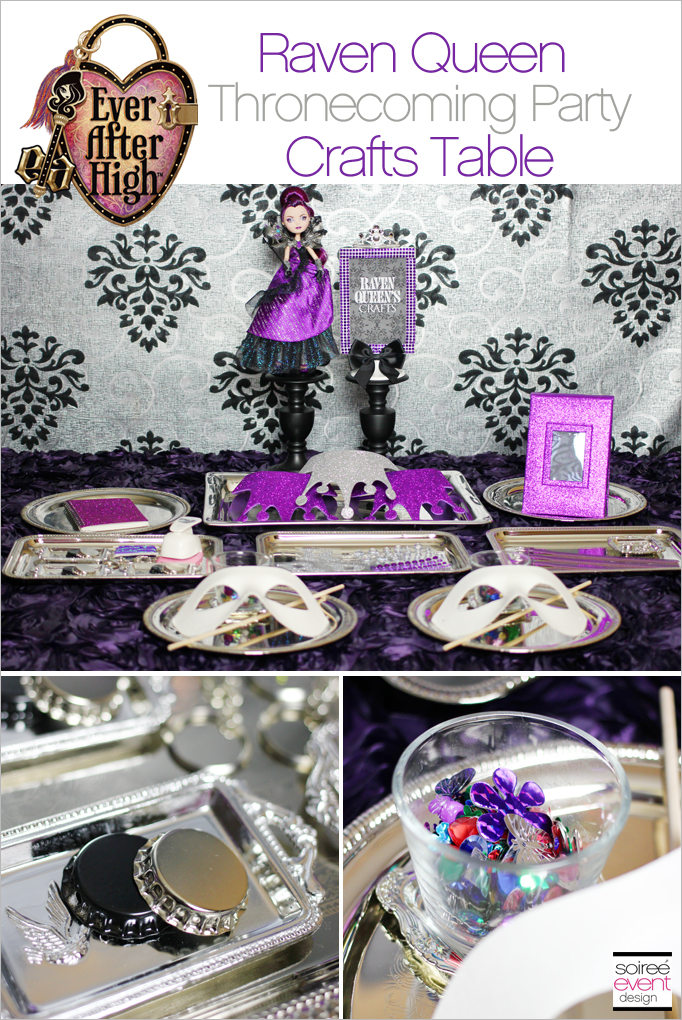 Raven Queen party Crafts Table