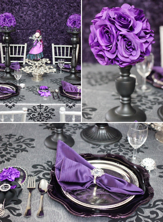 purple and silver dining table