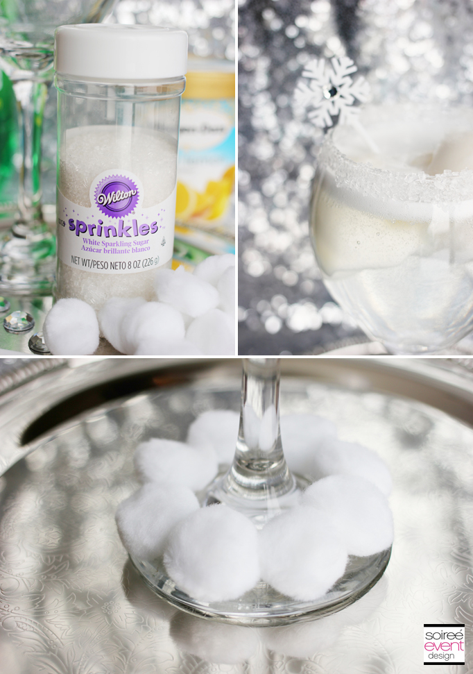 Sugar Snowball Mocktini Glass Decorations