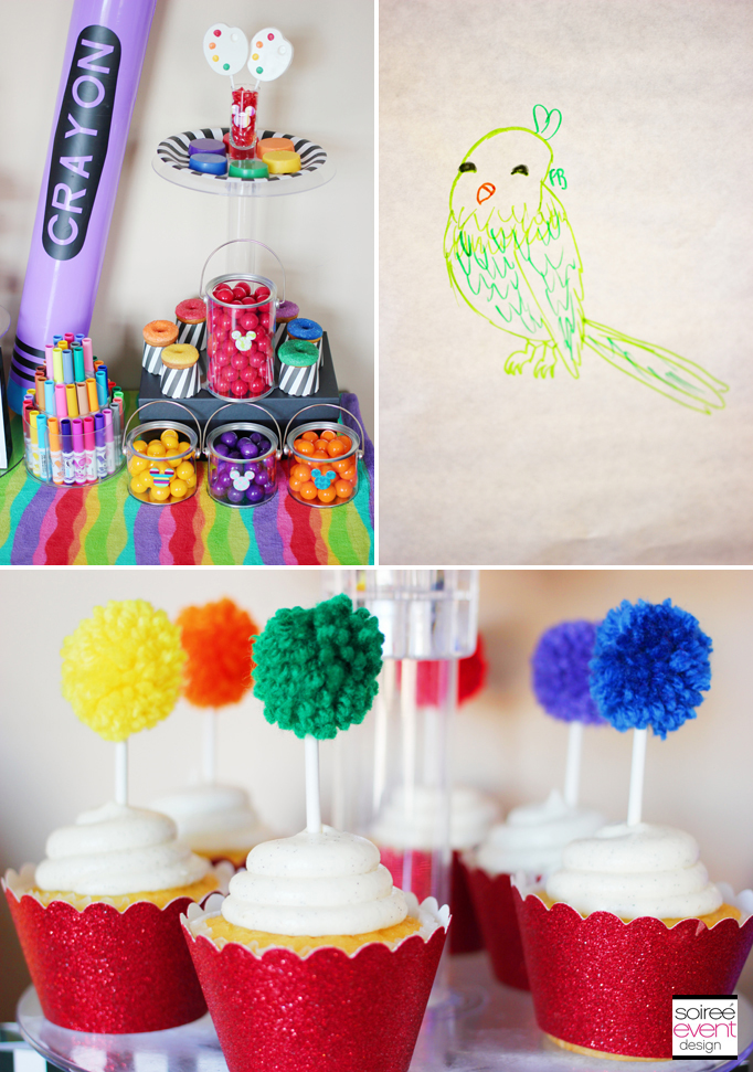 yarn pom cupcake toppers