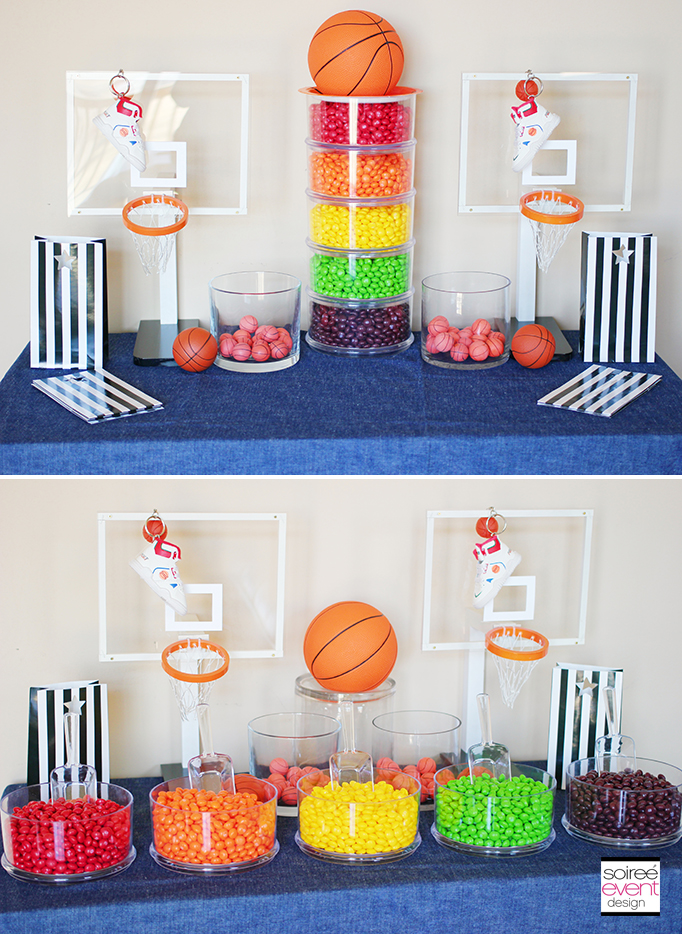 Basketball Party Ideas featuring a Skittles Candy Bar ...