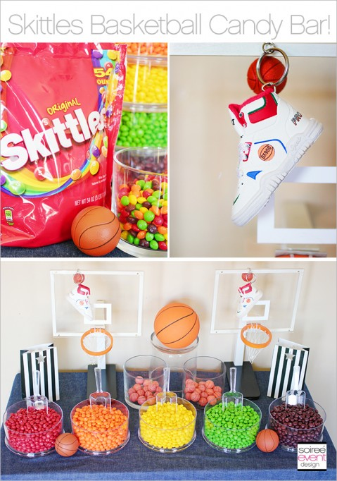 Basketball Party Ideas featuring a Skittles Candy Bar!