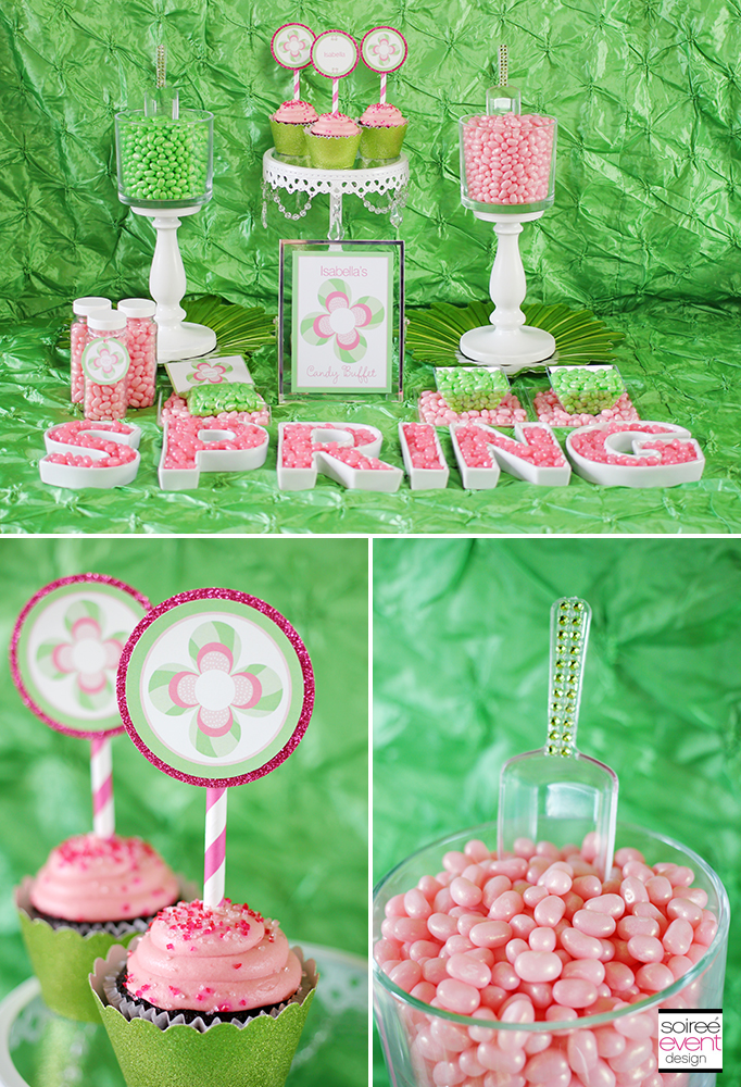 Pink and green candy buffet