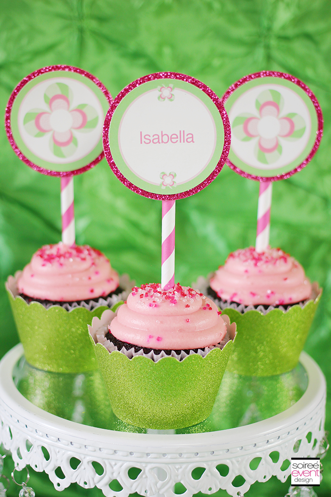 pink and green flower cupcake toppers