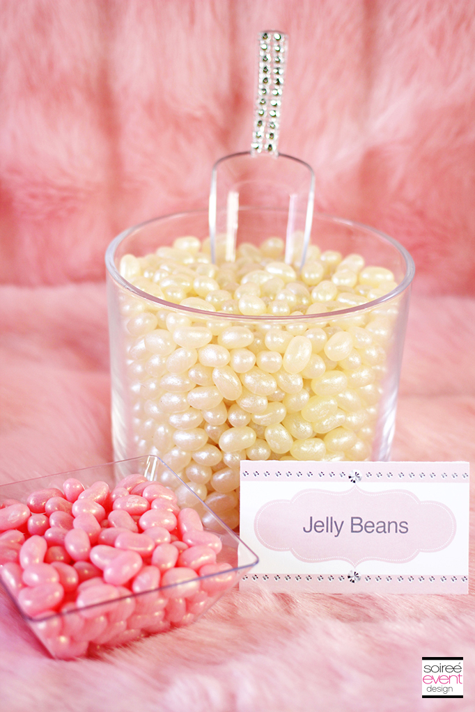 pink and white jelly beans tent card