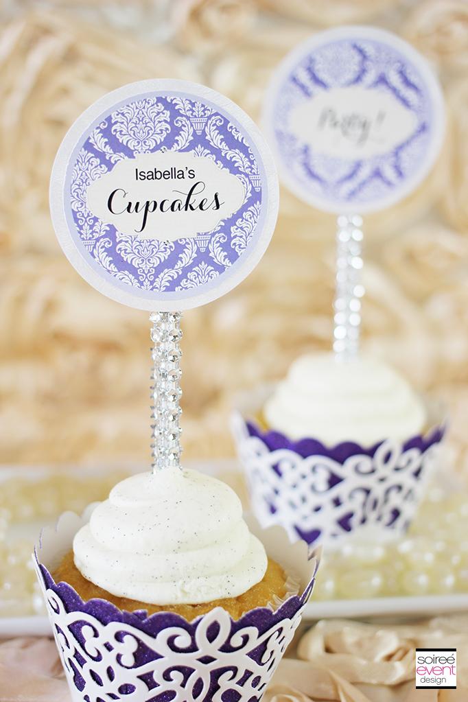 vintage garden cupcake toppers