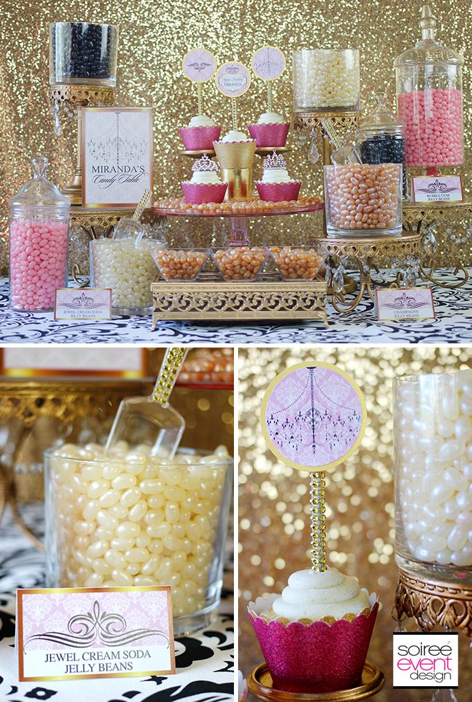 Princess Gold and Pink Candy Buffet