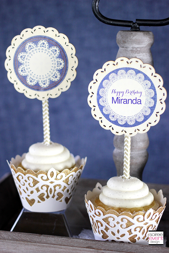 Vintage Denim cupcake toppers
