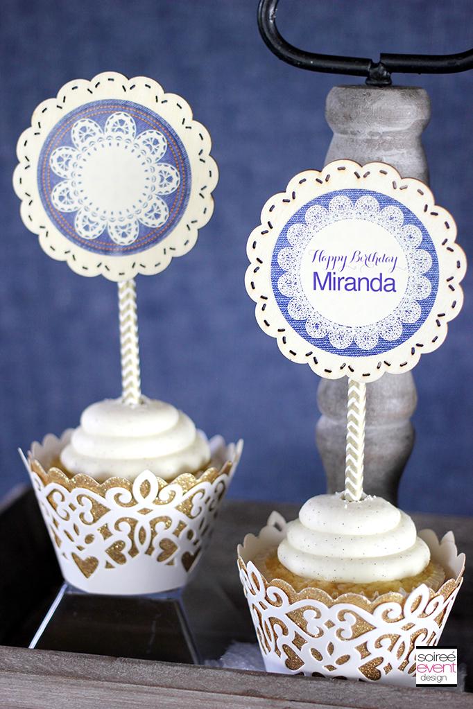 Vintage Denim cupcake toppers