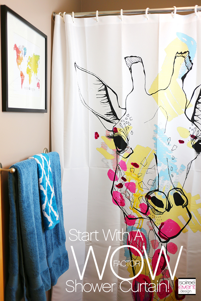 wow factor Giraffe shower curtain