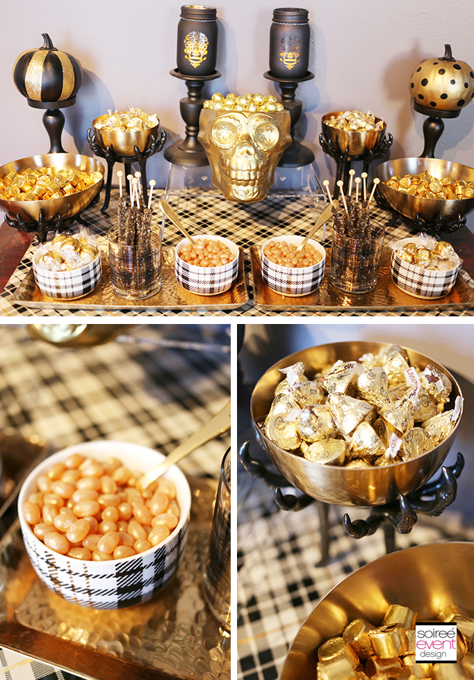 Gold Halloween Candy Table