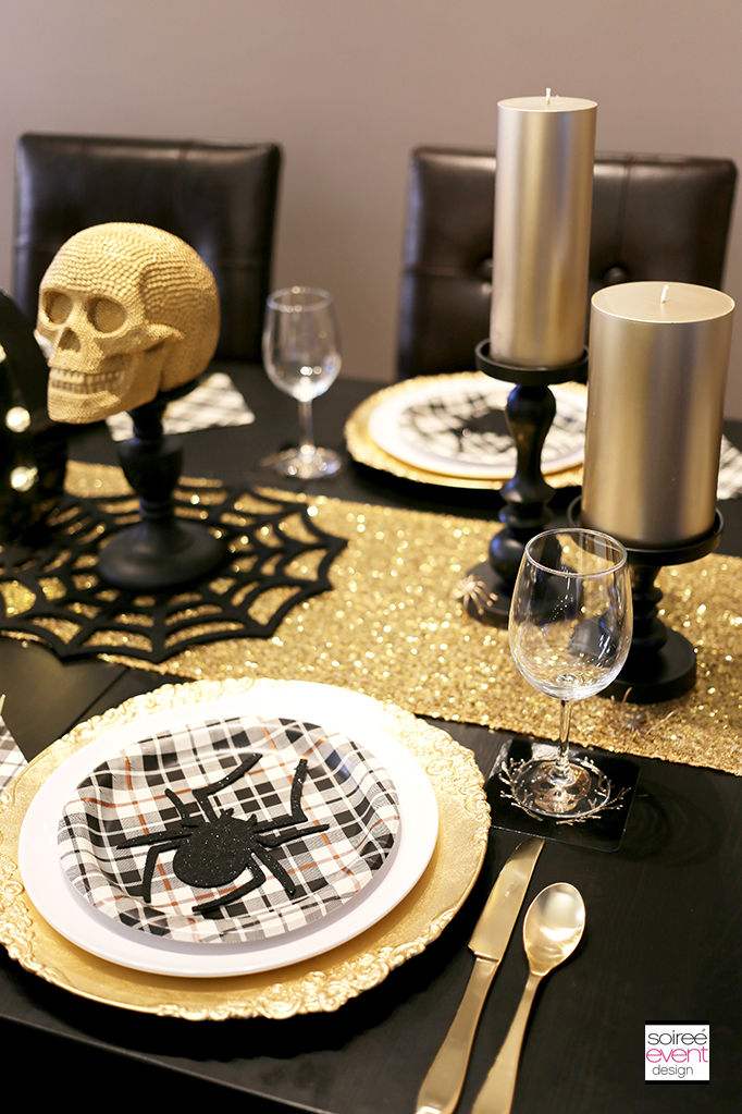 Gold and Black Halloween Party Table