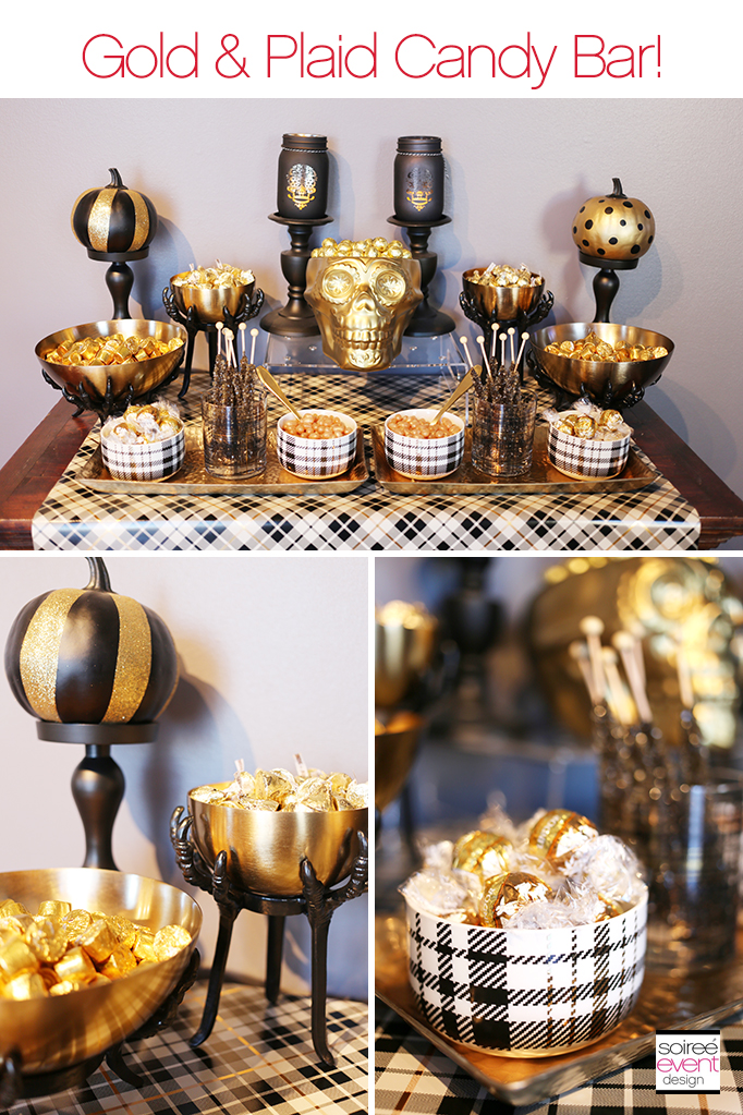 Gold and Plaid Candy Table