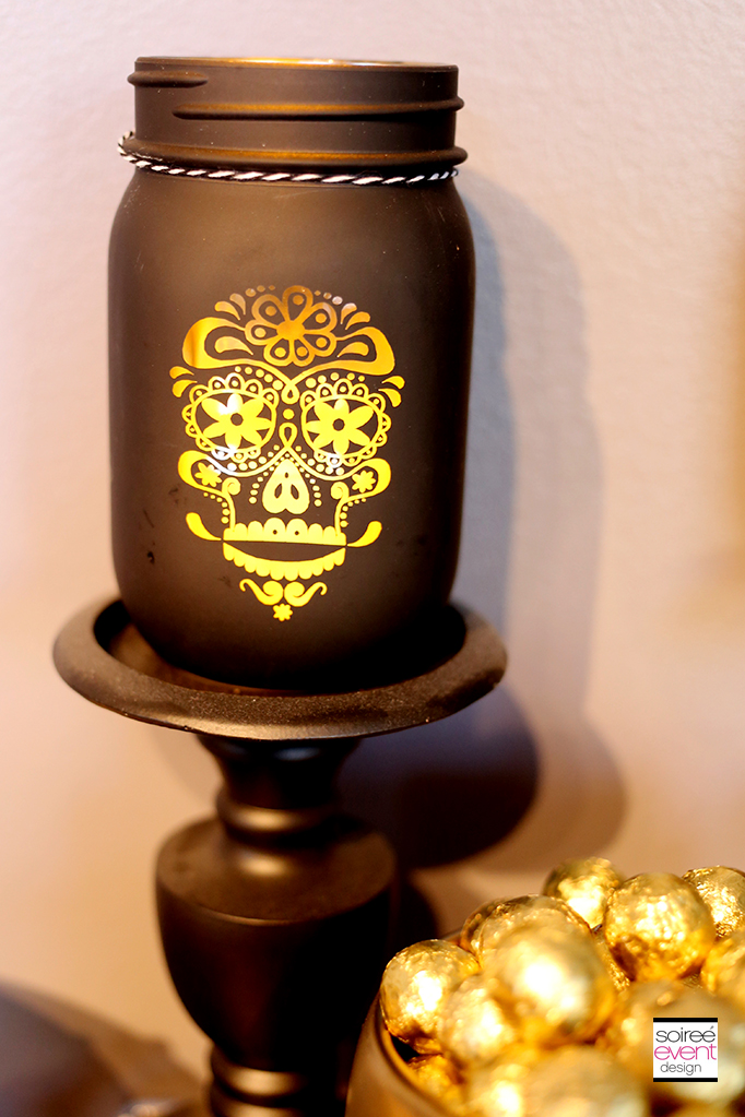 Skull candle mason jars
