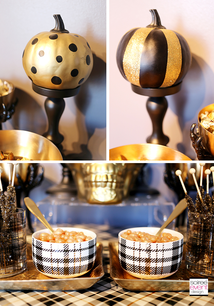 gold and black halloween party decorations