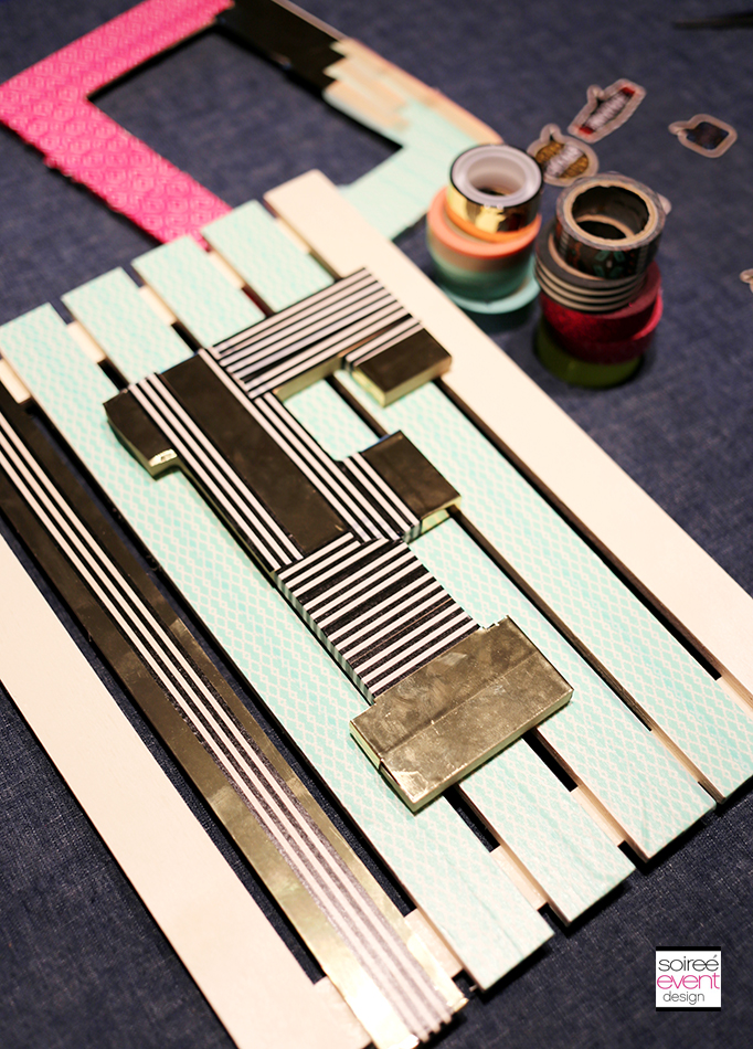 washi tape wall hanging