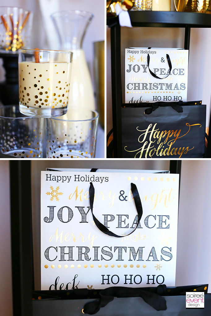 Black Gold and White gift bags