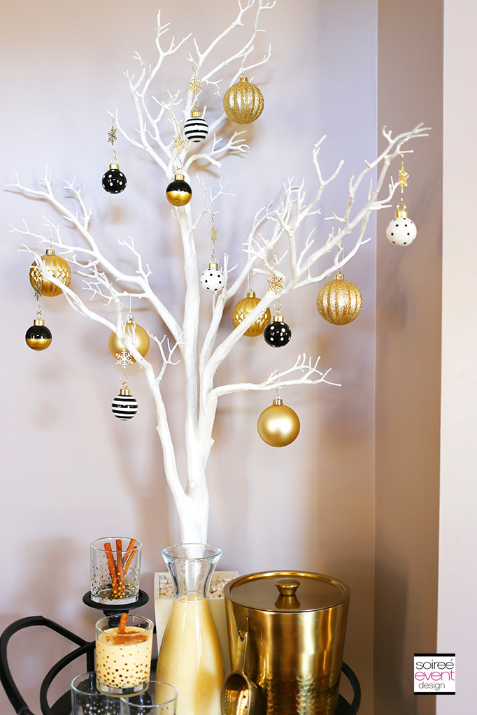 Black White and Gold Holiday Decorations