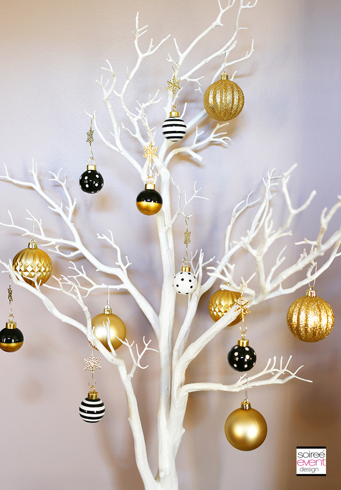 black white and gold christmas ornaments