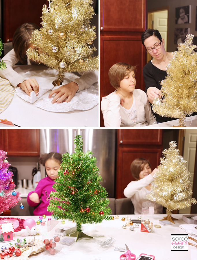 Decorating Mini Tinsel Trees